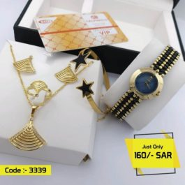 Luxury Women's Watch with Elegant Jewel set Combo