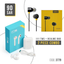 i11 Tws Double Mini Bluetooth 5.0 touch Earphones Earbuds Wireless Air pods and Realme Buds 2 with Mic for Android Smartphones (Black)