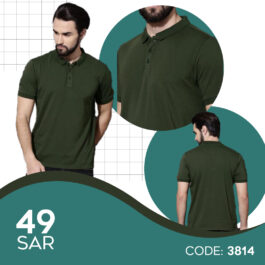 Men's Comfort Soft Cotton Plain Polo Collar Half Sleeve T-Shirt with Solid Navy Blue Color and Olive Green (Available in Two Colors)