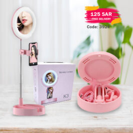 K3 Selfie Ring Light with Phone Holder, Foldable LED Desk Lamp Dimmable Phone Make Up Ringlight Stand Extendable Makeup Mirror TIK Tok YouTube Video Vlog Recording Photography Tiktok Live Stream (Pink)